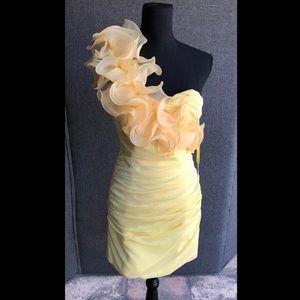 NWT Cinderella One Shoulder Yellow Dress